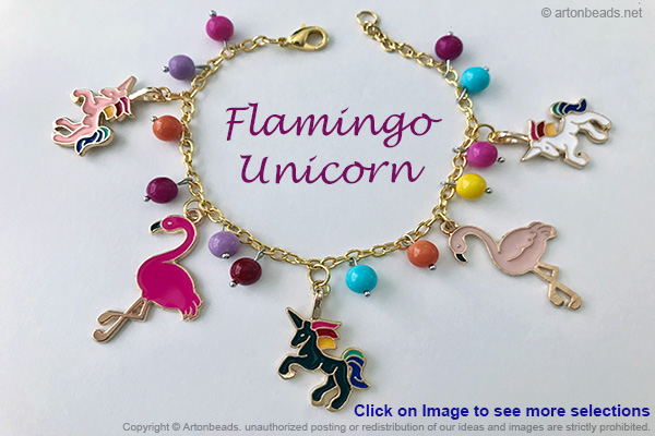 Flamingo &unicorn charm bracelets